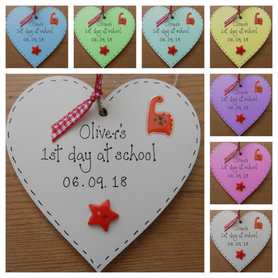 Personalised First 1st day at school heart plaque gift keepsake