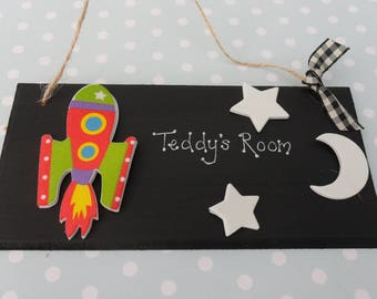Personalised boys room nursery playroom plaque sign solar system themed with glow in dark stars