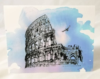 Colosseum rome italy pen and ink pencil drawing for Express wash roma