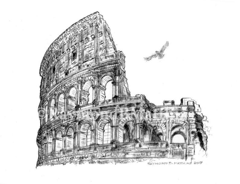 Coliseo Roma Italia La Pluma Y La Tinta De Dibujo A Lápiz Etsy