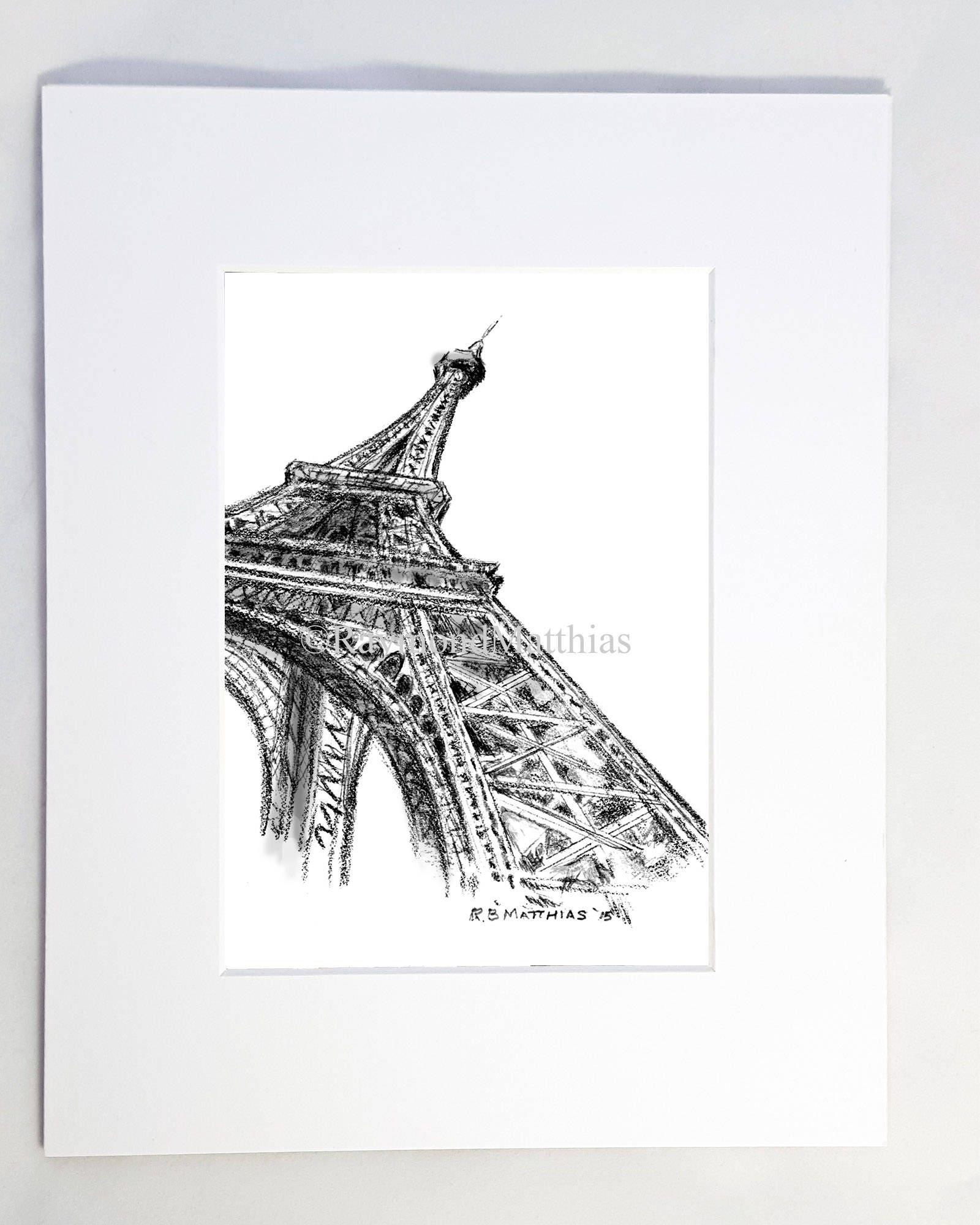 Eiffel Turm bildende Kunst Bleistiftzeichnung Tintenstift   Etsy
