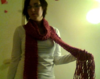 Long Red Knit Scarf