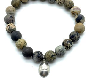 Picture Jasper,Stretch Bracelet,Stackable Bracelet,Trends,Charm Bracelet,Multi Color,Earth Tones,Casual,Everyday Wear,Multi Tone,Gift