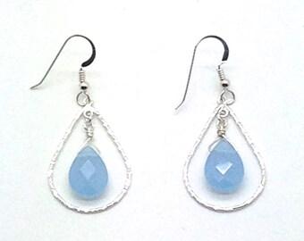 Briolette Earrings, Sterling Silver, Blue Chalcedony, Wire Wrap, Earrings, Gift Idea, Dangle Earrings, Romantic