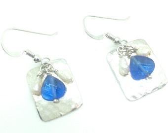 Happiness, Drop Earrings, Sterling Silver, Swarovski Crystal, Freshwater Pearl, Crystal Earrings, Pearl Earrings, Dangle Earrings, Gift Idea