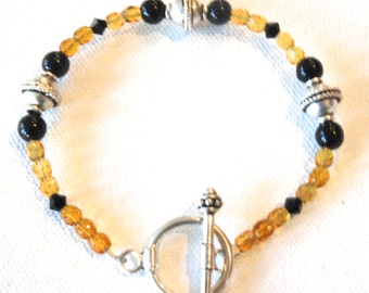 Amber, Bracelet, Sterling Silver, Black Onyx, Swarovski Crystals, Russian Amber, Gold, Toggle Closure, Gift For Her, Gift Idea