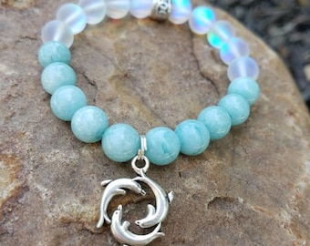 Last One! Aquamarine and Rainbow Bead Dolphin Charm Bracelet / Sea Goddess / Holistic Jewelry / Gemstone Jewelry / Crystal Mystic Healers