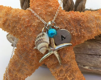 Custom Letter Necklace, Silver Starfish Necklace, Starfish Necklace, Shell Necklace, Letter Stamp Necklace, Beach Necklace, Summer Necklace