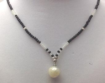 White south sea carved pearl, moonstone & spinel necklace in sterling silver