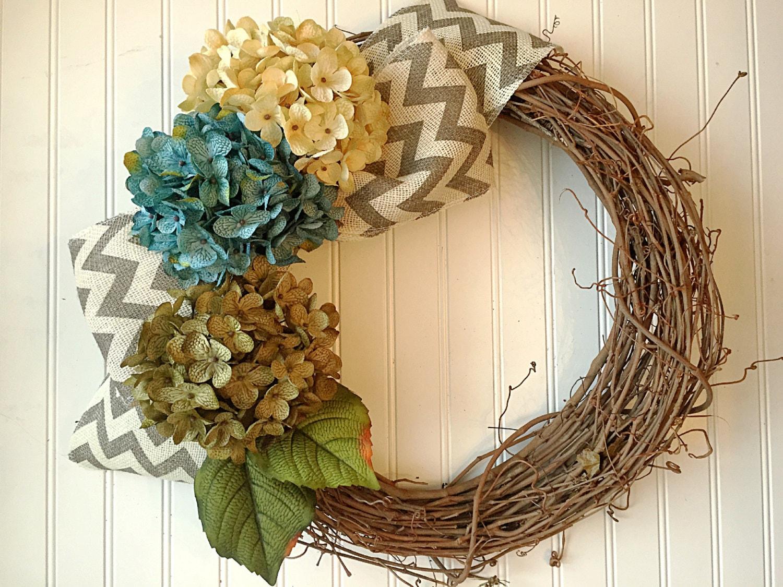 Spring Door Wreath Hydrangea door Wreath Monogram Summer Door Wreath Blue Hydrangea Spring Wreath for door Rustic Spring Door Wreath