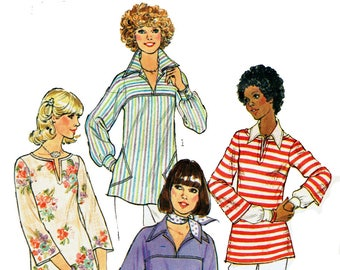 Vintage 1970s Sewing Pattern Simplicity 8098 Boho Or Hippie Style Pullover Top