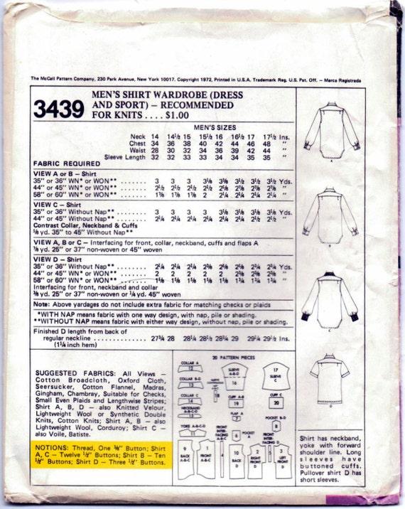 3439 hombres Mod manga corta o manga larga camisa coser | Etsy