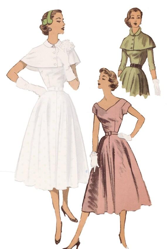 Sewing Pattern Vintage 1950s Women S Dress Advance 6473 Etsy