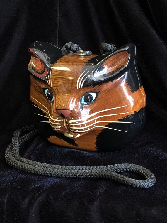 Timmy Woods Cat Kitty Purse Carved Wood Shoulder B