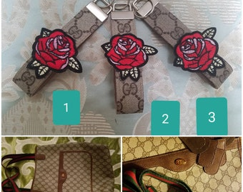e76165dba05 Re-fashion repurposed upcycled Authentic Gucci GG Logo Icon rose Key Fob  wristlet from Auth Gucci tote bag- 4th picture