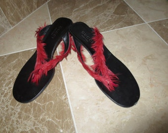 f45cdc3b5d8 Authentic GUCCI Red Feather Flip Flop sandals shoes CUTE 7.5 7 1 2 made in  Italy