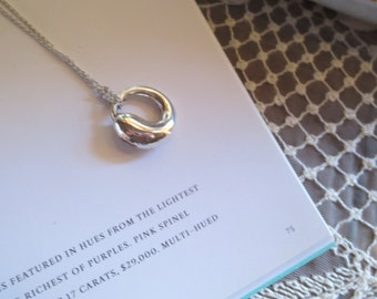 Authentic Tiffany Elsa Peretti ETERNAL CIRCLE Silver Pendant only with Tiffany box