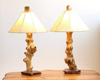 d9908785786 Gnarly Burled Driftwood Table Lamps Pair with Sandstone Base - Rustic  Upcycled or Reclaimed Natural Log Wood Lighting