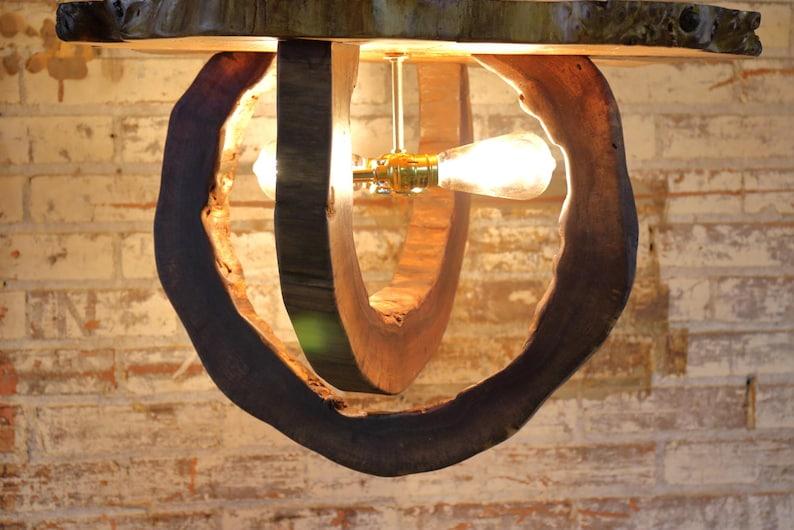 8e51ec83701 Hollow Log Ceiling Mounted Fixture Live Edge Walnut Light