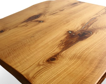 Curly Sassafras Dining Table Top w/ Crushed Geode Inlay - Natural Upcycled Wood Furniture - Live Edge Slab Rustic Tables