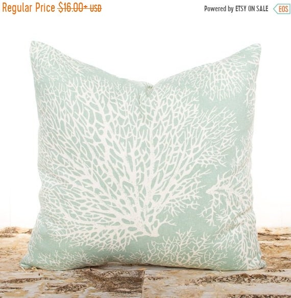 SALE ENDS SOON Seafoam Green Throw Pillows Large Ocean Coral Etsy Adorable Seafoam Green Decorative Pillows