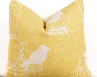 SALE ENDS SOON Yellow Pillow Cover, Bird Cage Pillow case, Modern Decorating Ideas, 18 x 18