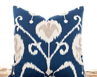 SALE ENDS SOON Navy Ikat Pillows, Navy Throw Pillow Covers, Cushion Covers, Ikat Fabric, Navy and Cream, Decorative Pillows