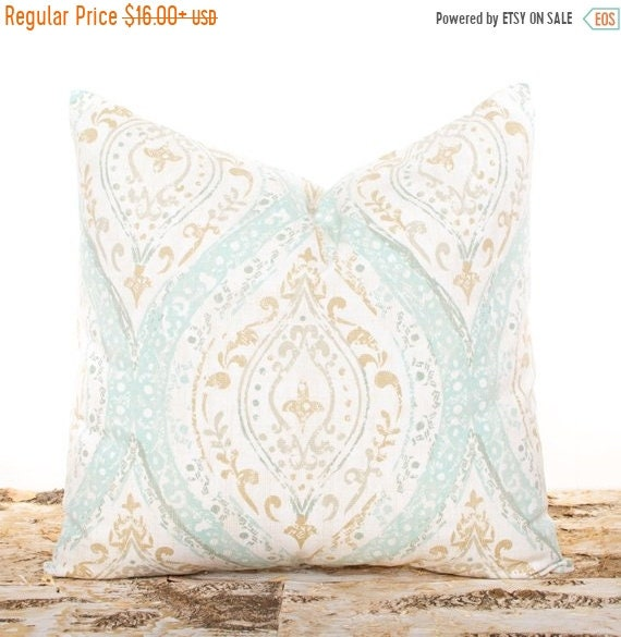 SALE ENDS SOON Seafoam Green Pillow Brown And Cream Accent Etsy Impressive Seafoam Green Decorative Pillows