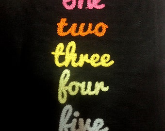 Set of numbers in cursive (one through five) machine applique and embroidery designs in many sizes and styles.