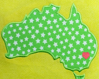 Australia machine embroidery and appliqué designs in several sizes and styles: satin stitch, raw edge and filled