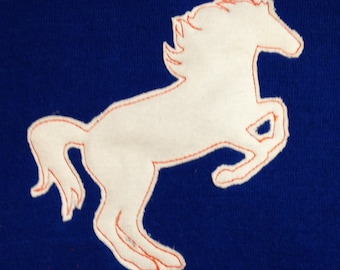 Raw edge mustang – horse – machine embroidery or applique design