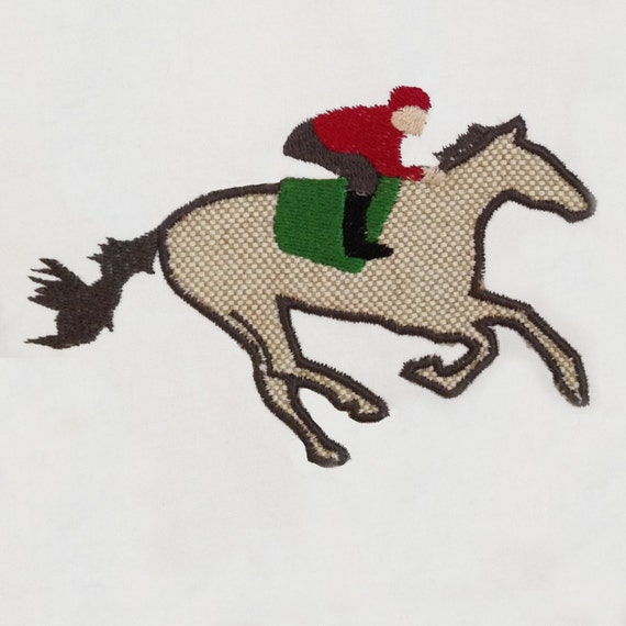 Galloping Horse With Jockey Machine Applique Design In Three