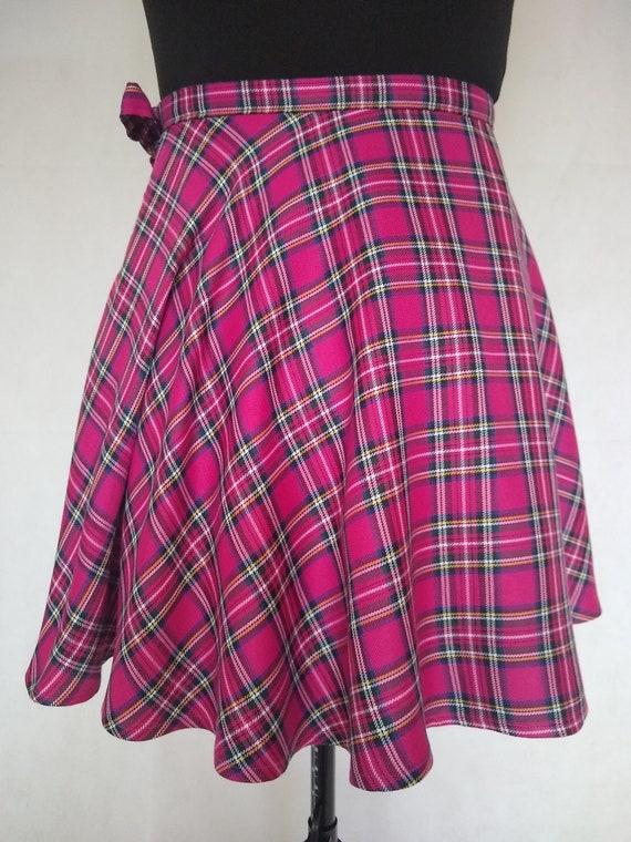 Pink Tartan Wrap Skirt, Full Circle Plaid Skirt, Scottish Tartan