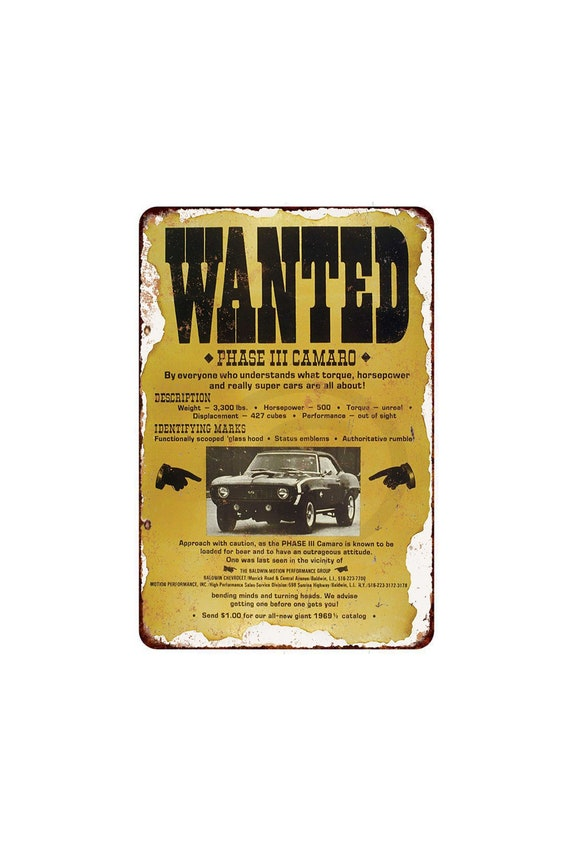 Metal Sign 1969 Baldwin Motion Camaro Vintage Look Reproduction 8 x 12