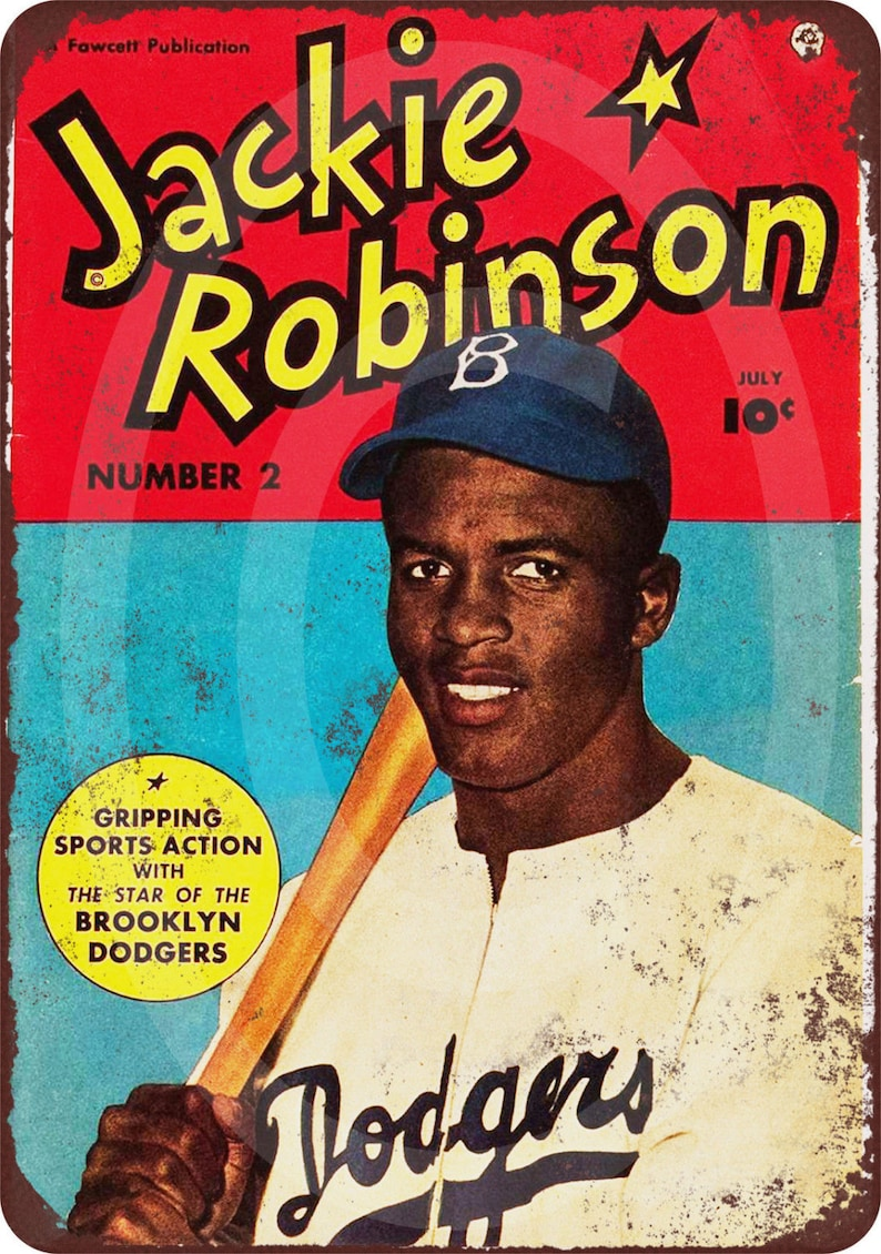 1950 Jackie Robinson Comic Reproduction Metal Sign 8 x 12 made in the USA