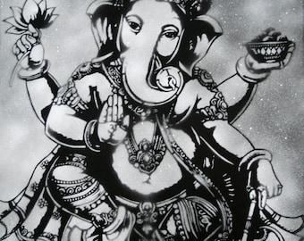 Ganesh / Ganesha Black and White Art Print by Spray Paint Artist Ray Ferrer 11x14 or 20x16