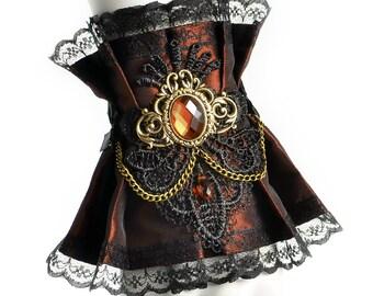 Little Steampunk cuff - Steam Wedding, Victorin fantasy party, Brown fabric wrist decor, Cute Lolita accessories, Geek girl, Cosplay costume