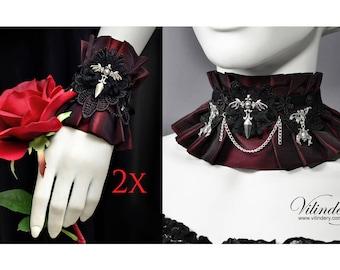 Cute Vampire Jewelry Set - Choker and pair of cuffs, Collar Necklace with bats, Lolita bracelets, Elegant Goth Wedding Jewelry, Dark Fantasy