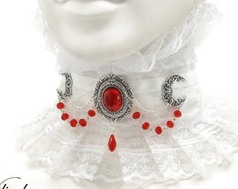 White collar with moon and red glass crystal - Victorin fantasy jewelry, Vampire wedding choker, White fabric with lace, Neck corset moons