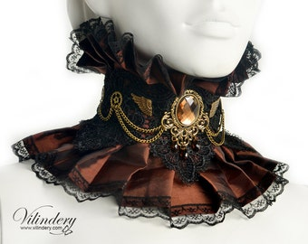 Steampunk Choker with gears, wings and chain - Victorian era inspired jewelry, Brown Wedding collar, Steam Geek girl, Neck corset, Victorian