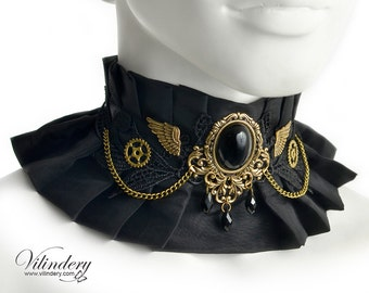 Steampunk Choker with Black stone and Golden wings - Victorin style jewelry, Bridal Wedding collar, Clock gears, Steam girl accessories