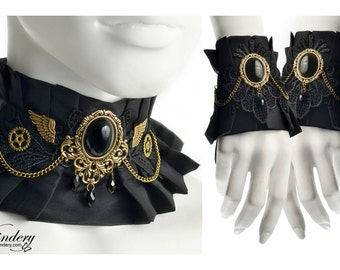 Black Steampunk jewelry set with black stones - Choker and a pair of cuffs, Soft fabric collar, Cute Wedding neck corset, Steam punk girl