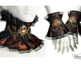 Steampunk jewelry set with wings and chains - Steam Wedding, Victorin fantasy, Brown pair of cuffs and collar, Lady Choker, Neck corset
