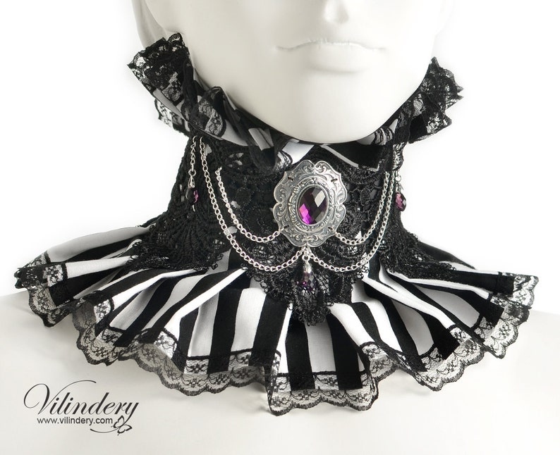 Choker with blackwhite stripes Cute Victorian fantasy jewelry Collar with purple glass crystals and chains Gothic Wedding neck corset