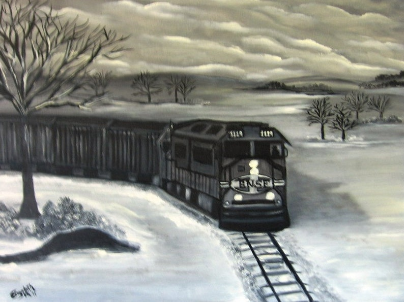 BNSF Train in the Snow an Original Oil on canvas 24x18x1 in Black and White