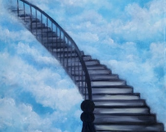 My Stairway to Heaven 1,  Original Oil in full color on 24x18x1 canvas