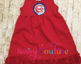 Cubs dress, Chicago Cubs dress for girls, Cubs dress for kids, baby cubs dress, kids cubs dress