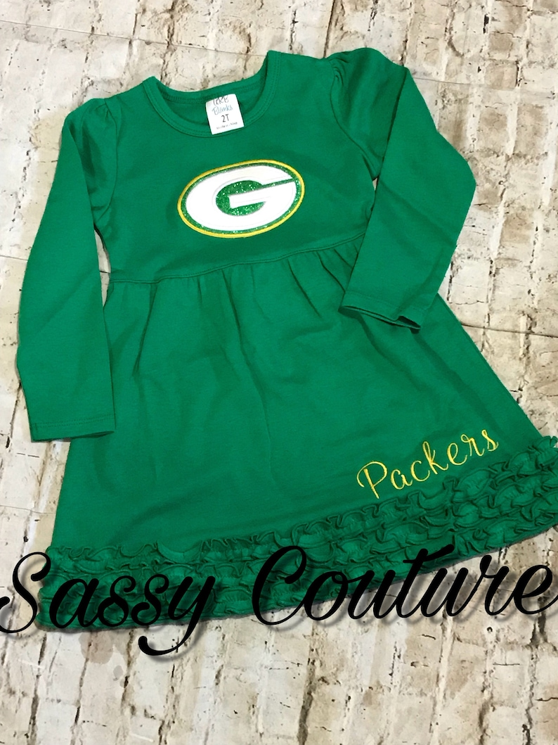 competitive price 3f31f 5cbc7 Packers Dress, Green Bay Packers dress, Girls football dress, baby Packers  Dress