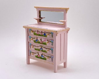 hand painted baby changing table Pink happy farm collection. Scale 1.12