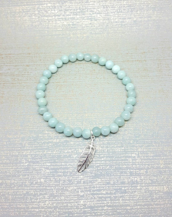 f0e534b4c4de3 Ladies amazonite bracelet / stretch fit blue bead cuff / Sterling silver  feather / stacking boho yoga beads / Summer surf beads